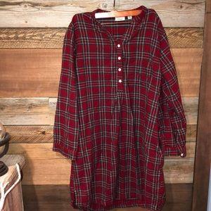 LL Bean Flannel Shirt Dress L